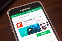 Ryazan Rosja, Maj, - 04, 2018: Flipboard wiadomości ikona w liście mobilni apps na pokazie telefon komórkowy Zdjęcia Stock