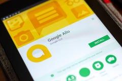 Ryazan Rosja, Maj, - 02, 2018: Google Allo wisząca ozdoba app na pokazie pastylka pecet Obrazy Royalty Free