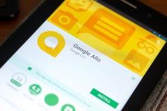 Ryazan Rosja, Maj, - 02, 2018: Google Allo wisząca ozdoba app na pokazie pastylka pecet Zdjęcie Stock
