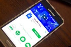 Ryazan Rosja, Maj, - 04, 2018: Google Docs wisząca ozdoba app na pokazie telefon komórkowy Obraz Stock