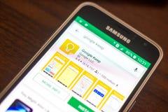 Ryazan Rosja, Maj, - 04, 2018: Google utrzymania ikona w liście mobilni apps na pokazie telefon komórkowy Zdjęcie Royalty Free