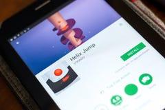 Ryazan Rosja, Maj, - 02, 2018: Helix skoku wisząca ozdoba app na pokazie pastylka pecet Obrazy Royalty Free