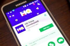 Ryazan Rosja, Maj, - 04, 2018: HQ błachostek wisząca ozdoba app na pokazie telefon komórkowy Zdjęcie Royalty Free