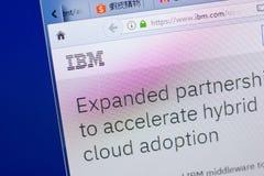 Ryazan Rosja, Maj, - 13, 2018: IBM strona internetowa na pokazie pecet, url - IBM com zdjęcie stock