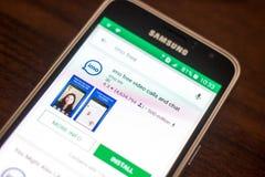 Ryazan Rosja, Maj, - 04, 2018: Imo ikona w liście mobilni apps na pokazie telefon komórkowy Zdjęcie Royalty Free