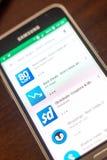 Ryazan Rosja, Maj, - 04, 2018: Najlepszy transakci ikona w liście mobilni apps na pokazie telefon komórkowy Fotografia Stock