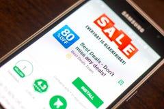 Ryazan Rosja, Maj, - 04, 2018: Najlepszy transakci wisząca ozdoba app na pokazie telefon komórkowy Obrazy Stock