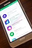 Ryazan Rosja, Maj, - 04, 2018: Potężna Cleaner ikona w liście mobilni apps na pokazie telefon komórkowy Obraz Stock