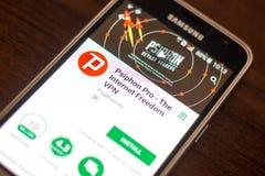 Ryazan Rosja, Maj, - 04, 2018: Psiphon VPN Pro wisząca ozdoba app na pokazie telefon komórkowy Zdjęcie Stock