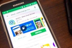 Ryazan Rosja, Maj, - 04, 2018: SKOUT ikona w liście mobilni apps na pokazie telefon komórkowy Obraz Stock