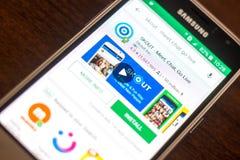 Ryazan Rosja, Maj, - 04, 2018: SKOUT ikona w liście mobilni apps na pokazie telefon komórkowy Obrazy Royalty Free
