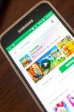 Ryazan Rosja, Maj, - 04, 2018: Społeczności miejskiej ikona w liście mobilni apps na pokazie telefon komórkowy Obraz Stock