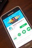 Ryazan Rosja, Maj, - 04, 2018: SwiftKey Klawiaturowa wisząca ozdoba app na pokazie telefon komórkowy Fotografia Royalty Free