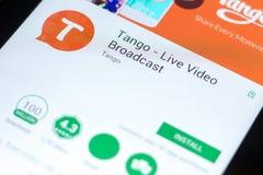 Ryazan Rosja, Maj, - 03, 2018: Tando - Żywego wideo Wyemitowana wisząca ozdoba app na pokazie pastylka pecet Obrazy Stock