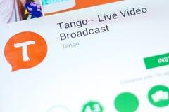 Ryazan Rosja, Maj, - 03, 2018: Tando - Żywego wideo Wyemitowana wisząca ozdoba app na pokazie pastylka pecet Zdjęcia Stock