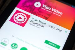 Ryazan Rosja, Maj, - 03, 2018: Vigo Wideo wisząca ozdoba app na pokazie pastylka pecet Zdjęcia Royalty Free