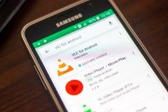 Ryazan Rosja, Maj, - 04, 2018: VLC dla android ikony w liście mobilni apps na pokazie telefon komórkowy Zdjęcia Royalty Free
