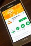 Ryazan Rosja, Maj, - 04, 2018: VLC dla android wiszącej ozdoby app na pokazie telefon komórkowy Obraz Stock