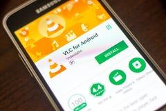 Ryazan Rosja, Maj, - 04, 2018: VLC dla android wiszącej ozdoby app na pokazie telefon komórkowy Obrazy Stock