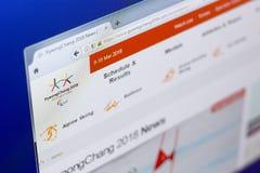Ryazan Rosja, Marzec, - 03, 2018: Oficjalna strona internetowa zimy Paralympic gry na peceta pokazie Obrazy Stock