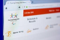 Ryazan Rosja, Marzec, - 03, 2018: Oficjalna strona internetowa zimy Paralympic gry na peceta pokazie Zdjęcie Stock