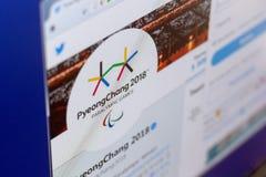 Ryazan Rosja, Marzec, - 03, 2018: Oficjalny świergotu caccaunt Interntional zimy Paralympic gry na pokazie pecet Zdjęcie Royalty Free