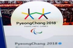Ryazan Rosja, Marzec, - 03, 2018: Oficjalny świergotu caccaunt Interntional zimy Paralympic gry na pokazie pecet Obraz Stock