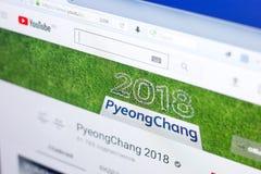 Ryazan Rosja, Marzec, - 03, 2018: Youtube kanał zimy Paralympic gry w Peyong Chang przy pokazem pecet Zdjęcia Royalty Free