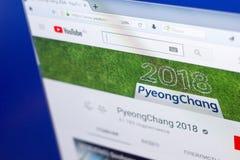 Ryazan Rosja, Marzec, - 03, 2018: Youtube kanał zimy Paralympic gry w Peyong Chang przy pokazem pecet Zdjęcie Stock