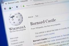 Ryazan Rosja, Sierpień, - 19, 2018: Wikipedia strona o Barnard kasztelu na pokazie pecet zdjęcia royalty free
