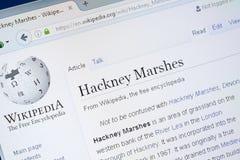 Ryazan Rosja, Sierpień, - 28, 2018: Wikipedia strona o Hackney bagnach na pokazie pecet zdjęcia stock