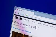 Ryazan, Rusia - 16 de abril de 2018 - homepage de la BBC Co Reino Unido en la exhibición de la PC foto de archivo libre de regalías