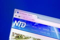 Ryazan, Rusia - 16 de abril de 2018 - homepage de Ntd sitio web de la TV en la exhibición de la PC Foto de archivo libre de regalías