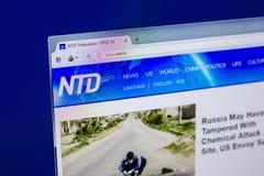 Ryazan, Rusia - 16 de abril de 2018 - homepage de Ntd sitio web de la TV en la exhibición de la PC Fotos de archivo libres de regalías