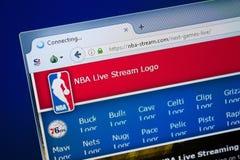 Ryazan, Rusia - 26 de agosto de 2018: Homepage del sitio web de la NBA-corriente en la exhibición de la PC URL - NBA-corriente co imágenes de archivo libres de regalías