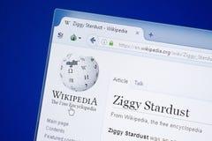 Ryazan, Rusia - 19 de agosto de 2018: Página de Wikipedia sobre Ziggy Stardust en la exhibición de la PC foto de archivo