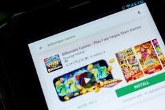 Ryazan, Rusia - 3 de julio de 2018: Casino del multimillonario - juegue el icono libre de los juegos de las ranuras de Vegas en l fotos de archivo