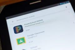 Ryazan, Rusia - 3 de julio de 2018: Icono móvil de PowerSchool en la lista de apps móviles fotos de archivo libres de regalías