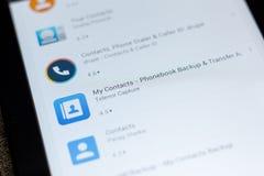 Ryazan, Rusia - 3 de julio de 2018: Mi icono de los contactos en la lista de apps móviles foto de archivo libre de regalías