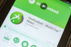 Ryazan, Rusia - 3 de julio de 2018: Onefootball Live Soccer Scores app móvil en la exhibición de la tableta foto de archivo