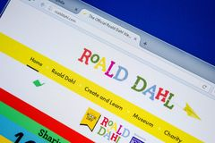 Ryazan, Rusia - 8 de julio de 2018: RoaldDahl sitio web de COM en la exhibición de la PC imagen de archivo