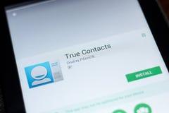 Ryazan, Rusia - 3 de julio de 2018: Verdad los contactos app móvil en la exhibición de la tableta foto de archivo libre de regalías