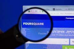 Ryazan, Rusia - 17 de junio de 2018: Homepage del sitio web cuadrado en la exhibición de la PC, URL - FourSquare com fotografía de archivo libre de regalías