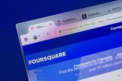 Ryazan, Rusia - 17 de junio de 2018: Homepage del sitio web cuadrado en la exhibición de la PC, URL - FourSquare com imagen de archivo libre de regalías