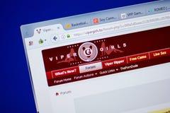 Ryazan, Rusia - 16 de junio de 2018: Homepage del sitio web de ViperGirls en la exhibición de la PC, URL - ViperGirls A Fotografía de archivo libre de regalías