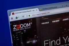 Ryazan, Rusia - 5 de junio de 2018: Homepage del sitio web de ZezoomGlobal en la exhibición de la PC, URL - ZezoomGlobal com fotografía de archivo