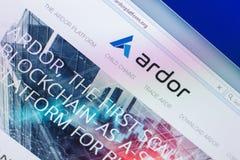 Ryazan, Rusia - 29 de marzo de 2018 - homepage de la moneda crypto del ardor en una exhibición de la PC, dirección del web - ardo fotografía de archivo libre de regalías