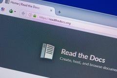 Ryazan, Rusia - 13 de mayo de 2018: Lea el sitio web de los doc. en la exhibición de la PC, URL - Readthedocs org foto de archivo libre de regalías