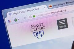 Ryazan, Rusia - 13 de mayo de 2018: Sitio web de Mayo Clinic en la exhibición de la PC, URL - MayoClinic org Imágenes de archivo libres de regalías