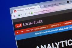 Ryazan, Rusia - 13 de mayo de 2018: Sitio web de SocialBlade en la exhibición de la PC, URL - SocialBlade com imagenes de archivo